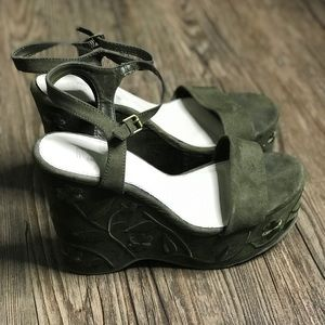 Mia Olive Green Floral Embroidered Wedges